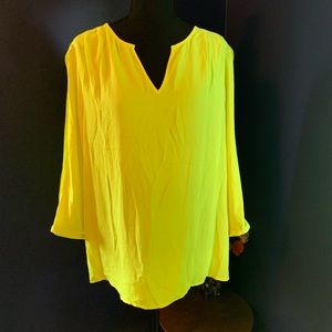 INC International Concepts Tops - NWT INC chartreuse 3/4 sleeve blouse 16